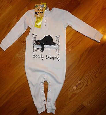Hatley Boys Girl Unisex Pajamas Bearly Sleeping NEW with Tags 12 18 Month White