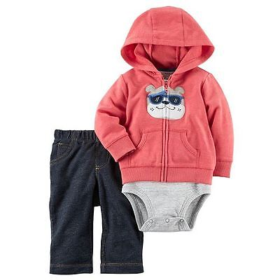 NWT Carter's Baby Boy 3 Piece Hoodie - Bodysuit - Pants Set Size 3 Months