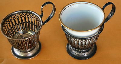 Lot Of 2 Lenox Sterling Silver Demitasse Cups With 1 Porcelain Liners-Rosenthal