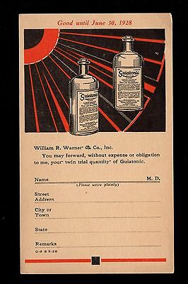 Possible Quack Medicine Giuatonic Appetite Stimulant Unused 1928 Postal Card 3m