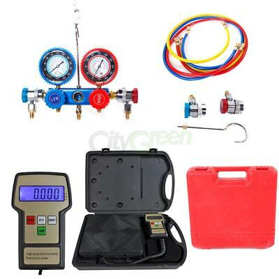 R134a HVAC Manifold Gauge Air Condition A/C and Digital Refrigerant Scale Kit US