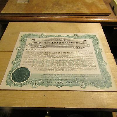 194 Prairie Farms Creamery of Carbondale Illinois Stock Certificate C Preferred