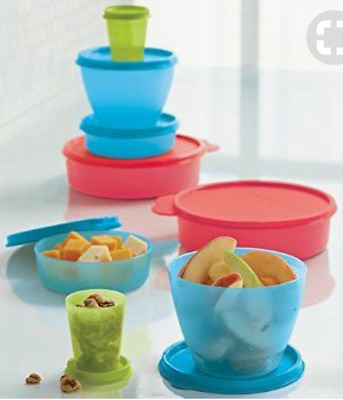 New Tupperware Lil Bit of Everything Wonders Midgets Snack Cups Bowls Red + New