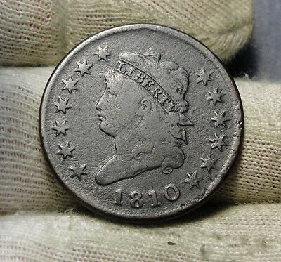 1810 Penny Classic Head Cent - Nice Coin, Free Shipping  (6436)
