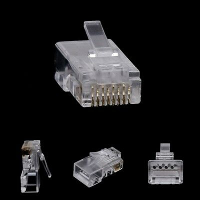 10Pcs 8-Pin RJ45 Connector CAT6 Network Cable Modular Ethernet Crystal Plugs