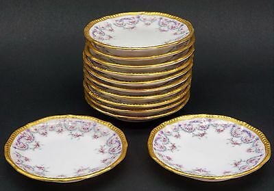 Elite Limoges Rose Swags Purple Gold Set of 12 Porcelain Butter Pats