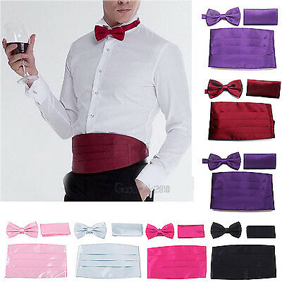 Cumberbund & BowTie Solid Color Men's Cummerbund Bow Tie Set Multi Colors New US