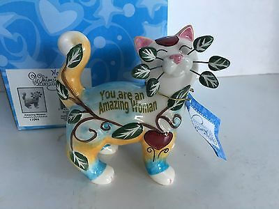 "Amy Lacombe 2009 WhimsiClay ""Amazing Woman"" cat figurine, New"