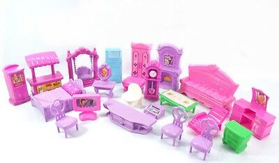 Plastic Furniture Doll House Family Christmas Xmas Toy Set for Kid Children BB