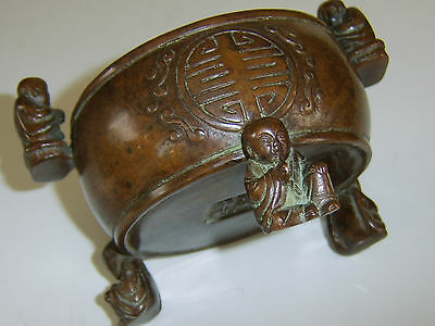 Old Antique Chinese Bronze Censer Very Fine Quality Buddha Handles Very Rare