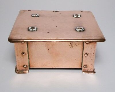 Antique 1900s A E Jones Arts and Crafts copper and silver box