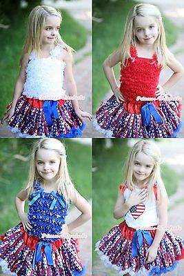 4TH JULY America PATRIOTIC Stars Stripes Pettiskirt Skirt Top Cloth Outfit 1-8Y
