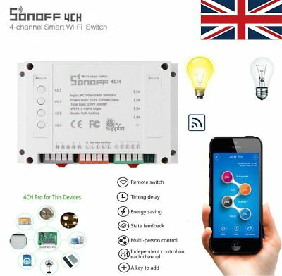 Sonoff WiFi 4CH 4 Gang Way Smart Switch Module Remote Control Timer APP For Home