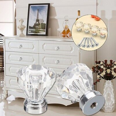 4-32 Pcs Clear Crystal Glass Door Knobs Drawer Cabinet Furniture Handle Diamond