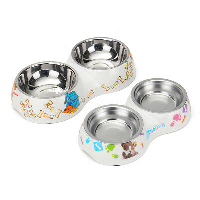 Double Dog Pet Bowls Dish Stainless Steel Bowl Feeder Cat Food Water ABS Stand