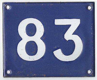 Old Australian used house number 83 door gate enamel metal sign in French blue