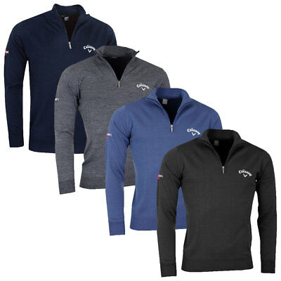 Callaway Golf 2017 Mens 1/4 Zip Mock Jersey Wool Thermal Sweater Pullover