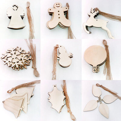 Wood Wooden Tags Art Craft DIY Scrapbook Ornament Christmas Elk Snowman Decor