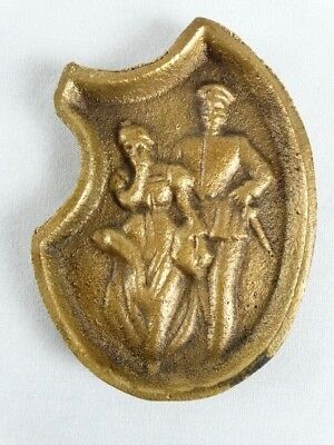 Vintage Brass Risqué Dutch Girl Double Sided pin dish Holland Netherlands
