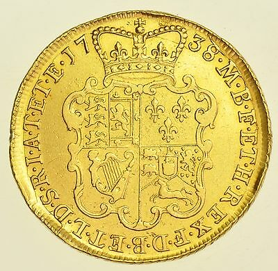 1738 Two Guineas, British Gold Coin From George Ii Vf