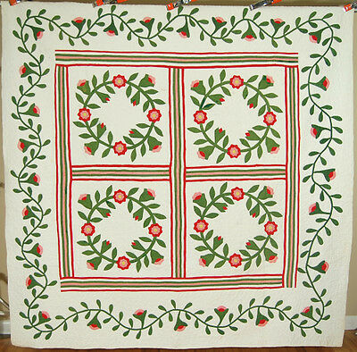 AMAZING Vintage 1860's President's Wreath Applique Antique Quilt ~GREAT BORDERS!