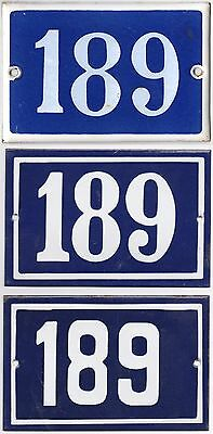 Old blue French house number 189 door gate wall fence street sign plate plaque