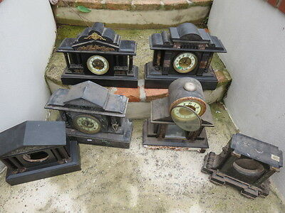 Collection Of Large Antique Ansonia And French Black Slate Clocks And Cases For