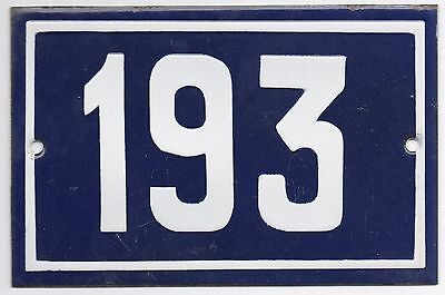Old blue French house number 193 door gate plate plaque enamel steel metal sign