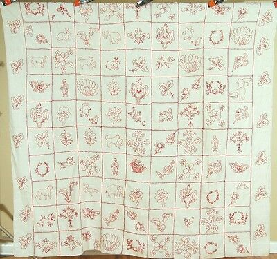 OUTSTANDING Vintage 1880's Redwork Quilt Top Summer Spread ~Animals & Birds!