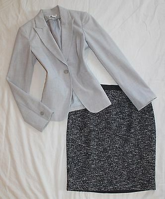 ANN TAYLOR Size 4 Women's Skirt Suit Black & Gray PERFECT!
