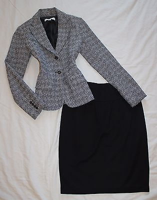 BANANA REPUBLIC Size 0 Women's Skirt Suit Black Gray PERFECT!