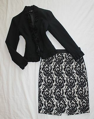 ANN TAYLOR Size 0 Women's Skirt Suit Black & Ivory PERFECT