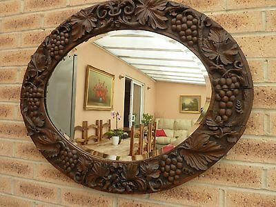 Large Antique Victorian Carved Oak Wall Bevelled Mirror Stunning!!