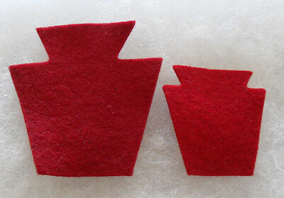 Pair Wwii 28Th Infantry Division Ng Officer Red Wool Shoulder & Cap Patches