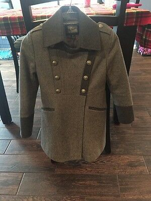 Rothschild Girls 8 Gray Double Breasted Military Style Dressy Lined Winter Coat