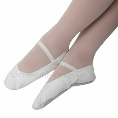 Boys / Girls Leather Ballet Shoes UK SIZED Pre-sewn Elastics Pink Black White