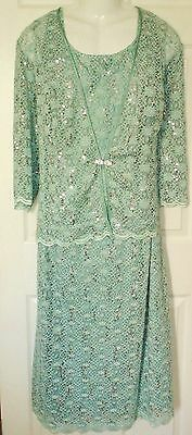 R&M RICHARDS mint green lace sequin Mother of Bride DRESS +JACKET Set Womens 22W