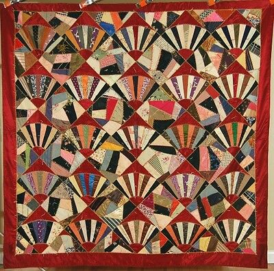 VIBRANT 1910's Vintage Fans Crazy Antique Quilt ~GORGEOUS STAINED GLASS LOOK!