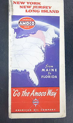 1940 New York New Jersey Long Island road map Amoco oil   gas