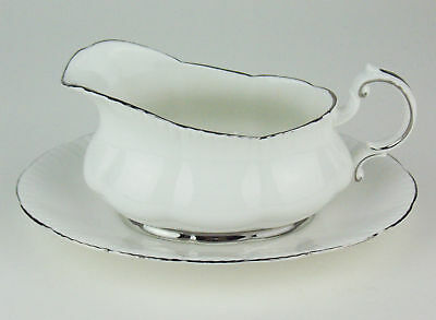 Small Gravy or Sauce Boat Paragon White with Platinum Trim vintage England