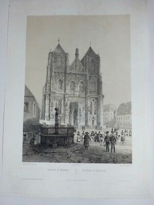 Regensburg Bayern Cathedrale Domkirche  Chapuy Lithographie 1844