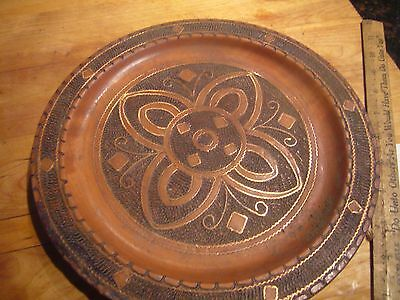 Vintage Carved Wood Circular Wall Plate Inlaid Copper