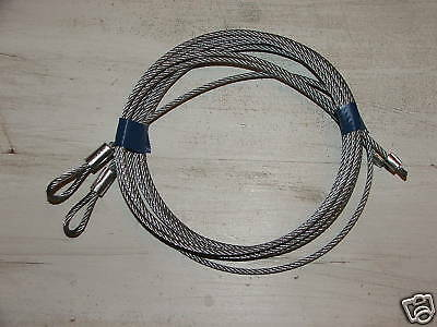 "Pair of Garage Torsion Spring Cables 7' Door Overhead 1/8"" Home Barn OHD Repair"