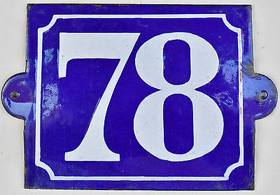 Big old French house number 78 door gate plate plaque enamel steel metal sign