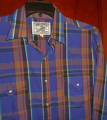Ely Vintage Terrific Plaid L/slv Glass Snaps Lt Wt Western Casual Shirt Mens L