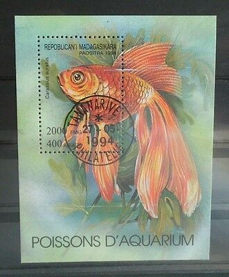Briefmarke Stamp Fische < Fish gestempelt Block Madagaskar 1994