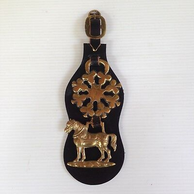 Vintage English Horse Leather & 2 Brass Harness Medallions Shamrocks