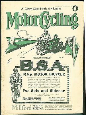 Motor Cycling Magazine 1915 Great Brooklands Meeting Triumph Countershaft tested