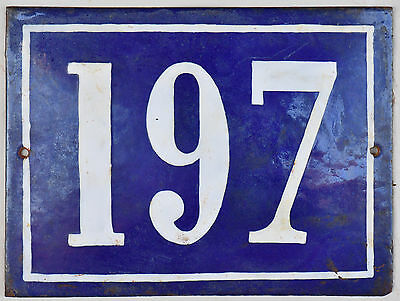Large old French house number 197 door gate plate plaque enamel steel metal sign