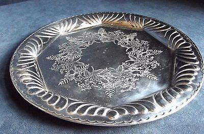"GOOD Large 10"" ~ SILVER Plated ~ VICTORIAN Styled ~ PLATTER Tray c1900"